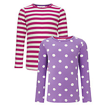Buy John Lewis Girl Polka Dot and Stripe Long Sleeved Top, Pack of 2, Pink/Purple Online at johnlewis.com