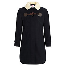 Buy John Lewis Girl Borg Collar Toggle Coat, Navy Online at johnlewis.com