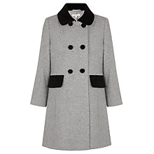 Buy John Lewis Girl Velvet Collar Coat, Grey Online at johnlewis.com