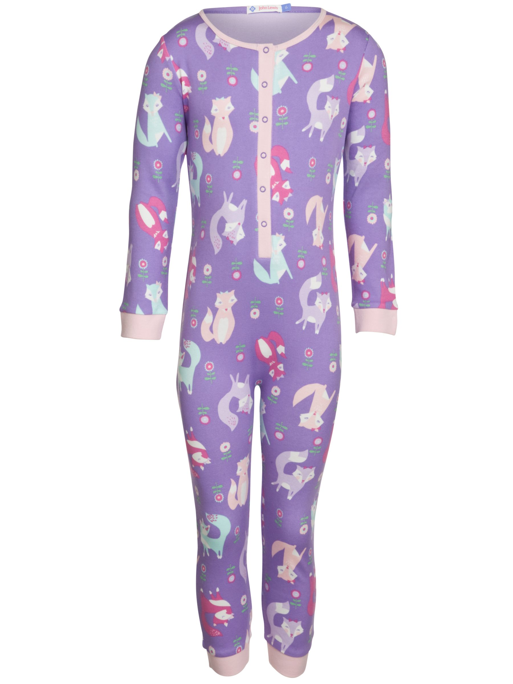 John Lewis Girl Fox Onesie, Purple
