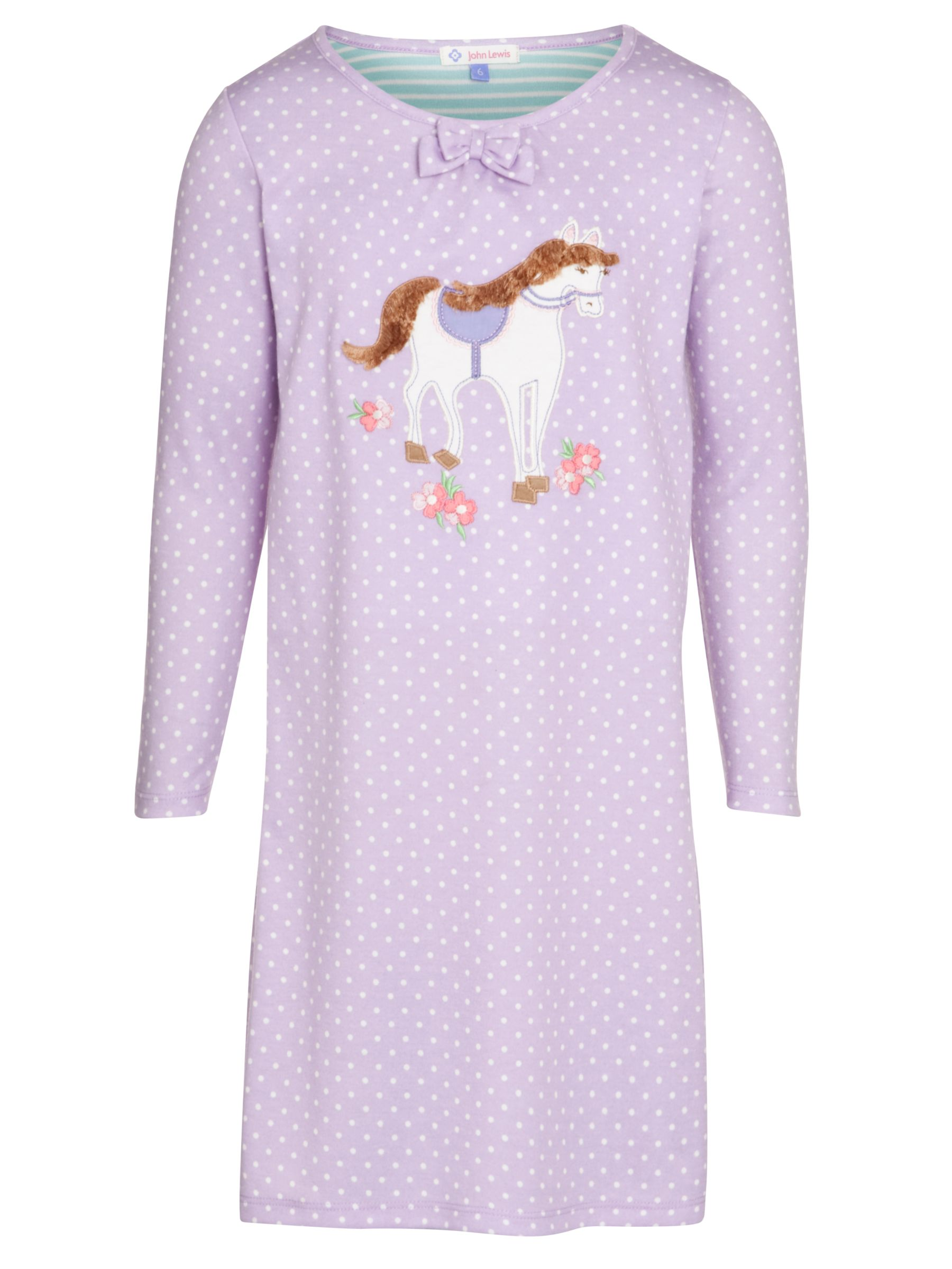 John Lewis Girl Polka Dot Horse Long Sleeve Nightdress, Lilac