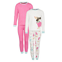 Buy John Lewis Girl Dog and Spot Pyjamas, Pack of 2, Pink/Cream Online at johnlewis.com