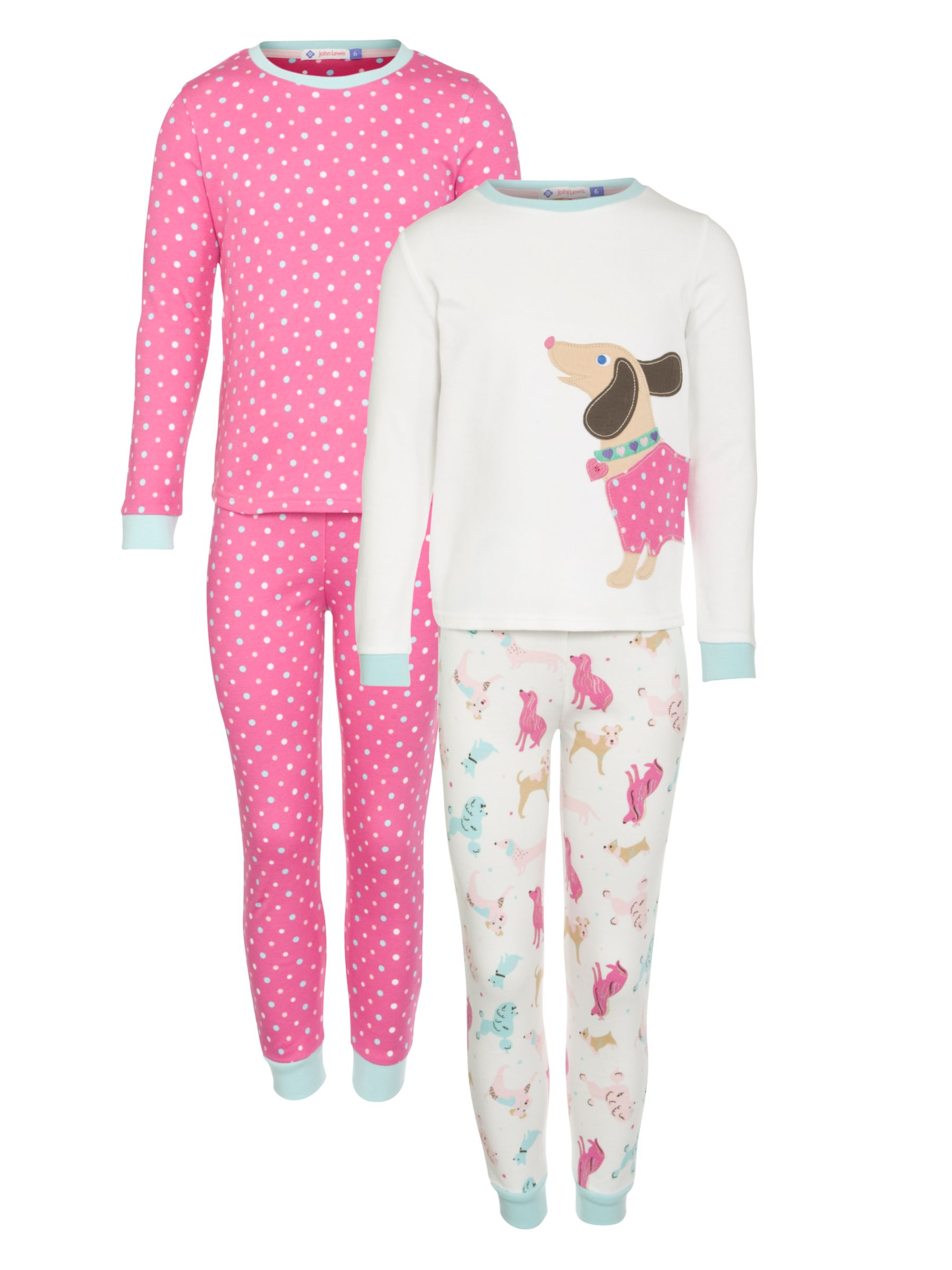 John Lewis Girl Dog and Spot Pyjamas, Pack of 2, Pink/Cream