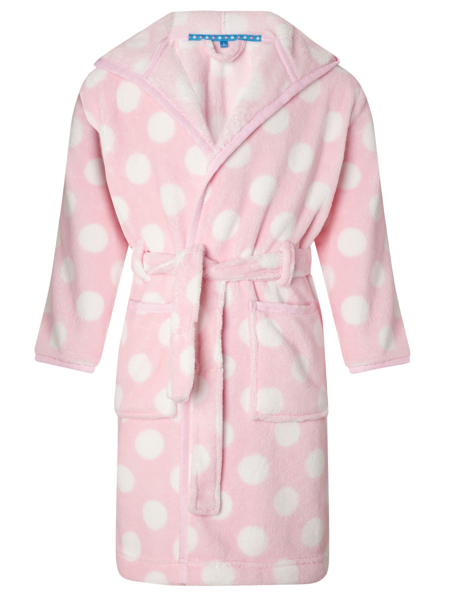 John Lewis Girl Spotted Robe, Pink