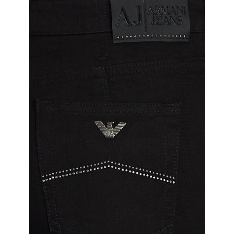 Buy Armani Jeans Glitter Pocket Straight Leg Jeans, Black Online at johnlewis.com
