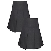 Buy John Lewis Value Girls' School Skirts, Pack of 2, Grey Online at johnlewis.com