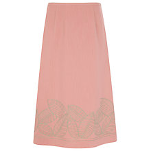 Buy Jacques Vert Leaf Embroidered Skirt, Coral Online at johnlewis.com