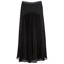 Buy Jacques Vert Chevron Pleated Skirt, Black Online at johnlewis.com
