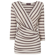 Buy Phase Eight Striped Wrap Top, Pebble/Mole Online at johnlewis.com