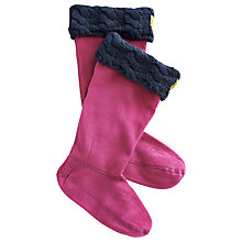 Buy Joules Knitted Cuff Welly Sock, Ruby Pink Online at johnlewis.com
