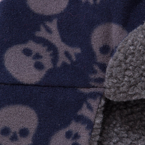 Buy John Lewis Boy Fleece Skull Trapper Hat, Navy/Grey Online at johnlewis.com