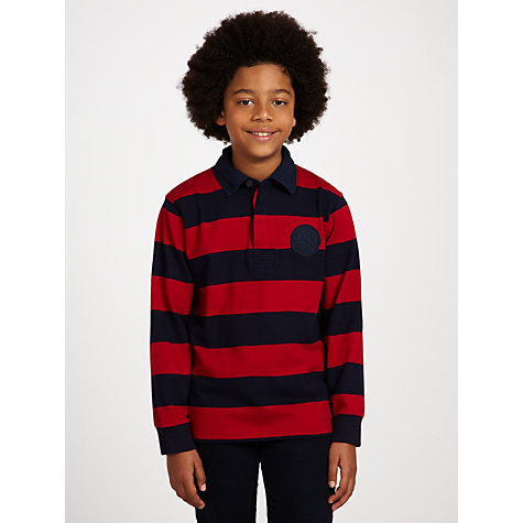Buy Gant Boys' Bar Striped Long Sleeved Rugby Shirt, Navy/Red Online at johnlewis.com