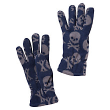 Buy John Lewis Boy Fleece Skull Gloves, Navy/Grey Online at johnlewis.com