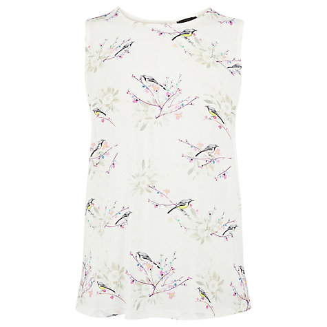 Buy Warehouse Bird Print Shell Top, Cream Online at johnlewis.com