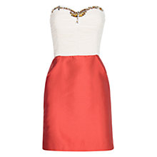 Buy Mango Two-Tone Crystals Dress, Red/White Online at johnlewis.com