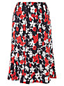 CC Petite Nautical Flower Piped Linen Skirt, Rouge/Navy