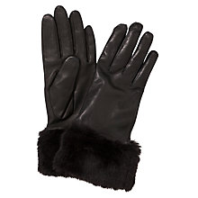 Buy John Lewis Fur Trim Leather Gloves Online at johnlewis.com