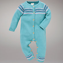 Buy John Lewis Baby Fair Isle Knitted All In One, Green/Multi Online at johnlewis.com