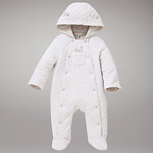 Buy John Lewis Jersey Quilted Snowsuit, Cream Online at johnlewis.com