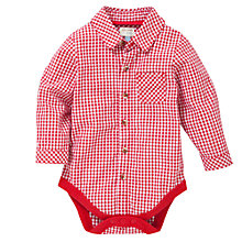 Buy John Lewis Baby Gingham Shirt Bodysuit, Red Online at johnlewis.com