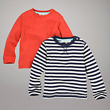 Buy John Lewis Long Sleeved Tops, Pack of 2, Red/Navy Stripes Online at johnlewis.com