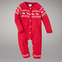 Buy John Lewis Baby Reindeer Fair Isle Knitted All In One, Red Online at johnlewis.com