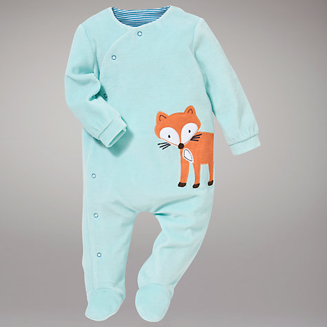 Buy John Lewis Baby Fox Sleepsuit, Green Online at johnlewis.com