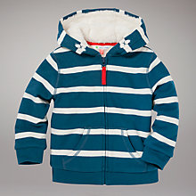 Buy John Lewis Stripe Zip Through Fleece, Blue Online at johnlewis.com