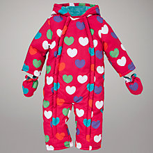 Buy John Lewis Baby Heart Wadded Snowsuit, Pink Online at johnlewis.com