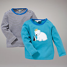 Buy John Lewis Baby Bear Striped Long Sleeved Tops, Pack of 2, Blue Online at johnlewis.com