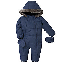 Buy John Lewis Baby Wadded Snowsuit, Navy Online at johnlewis.com
