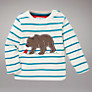 John Lewis Bear Stripe Jumper, Cream/Turquoise