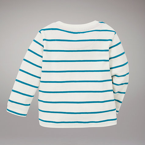 Buy John Lewis Bear Stripe Jumper, Cream/Turquoise Online at johnlewis.com