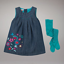 Buy John Lewis Denim Pinafore Dress and Tights, Blue Online at johnlewis.com