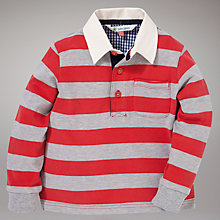 Buy John Lewis Stripe Rugby Shirt, Red/Grey Online at johnlewis.com