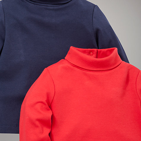 Buy John Lewis Roll Neck Top, 2 Pack, Red/Navy Online at johnlewis.com