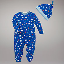 Buy John Lewis Baby Moose and Bear Sleepsuit, Blue/Multi Online at johnlewis.com