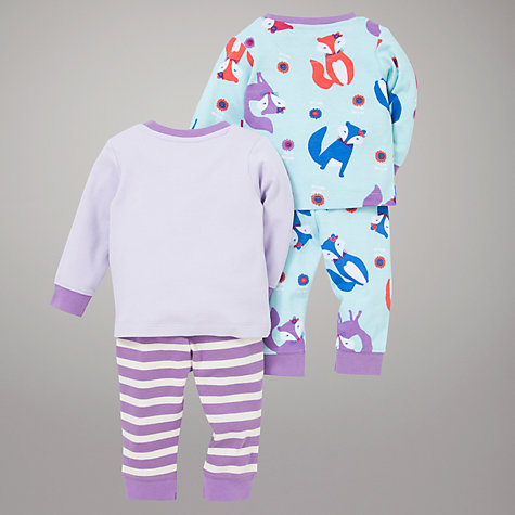Buy John Lewis Fox Pyjamas, Pack of 2, Lilac Online at johnlewis.com