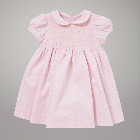 Buy John Lewis Baby Fan Print Smock Dress, Pink Online at johnlewis.com
