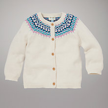 Buy John Lewis Baby Fair Isle Cardigan, Cream Online at johnlewis.com