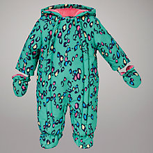 Buy John Lewis Baby Animal Print Snowsuit, Green Online at johnlewis.com