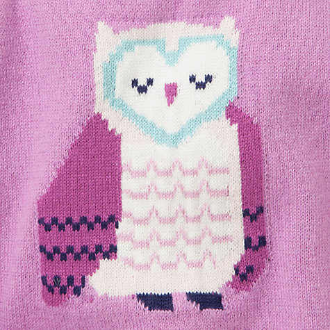 Buy John Lewis Baby Intarsia Owl Dress, Purple Online at johnlewis.com