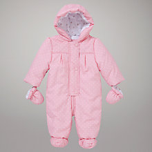 Buy John Lewis Baby Spot Snowsuit, Pink Online at johnlewis.com