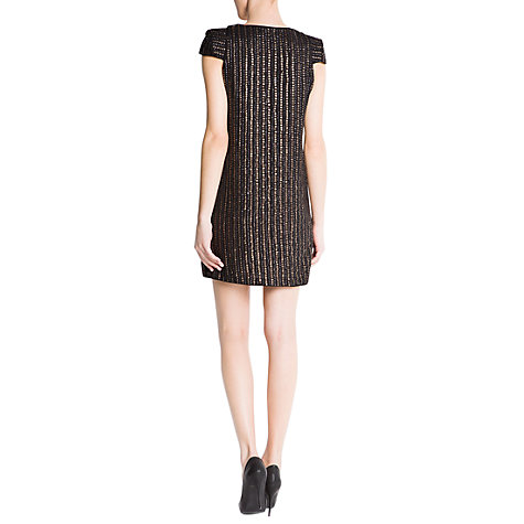 Buy Mango Striped Sequin Dress, Black Online at johnlewis.com