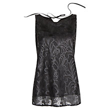 Buy Mango Sequinned Embroidered Floral Top, Black Online at johnlewis.com