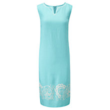 Buy Viyella Embroidered Linen Dress, Aquamarine Online at johnlewis.com