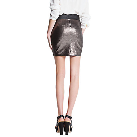 Buy Mango Sequinned Skirt, Silver Online at johnlewis.com