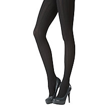 Buy Pretty Polly Chunky Cable Tights, Black Online at johnlewis.com