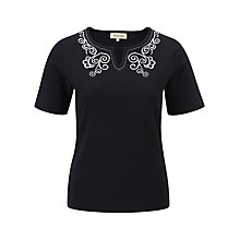 Buy Viyella Embroidered Neck Jersey Top, Navy Online at johnlewis.com