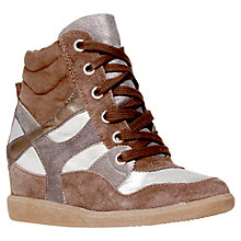 Buy KG by Kurt Geiger Lazer Suede Wedge Heel Trainers Online at johnlewis.com